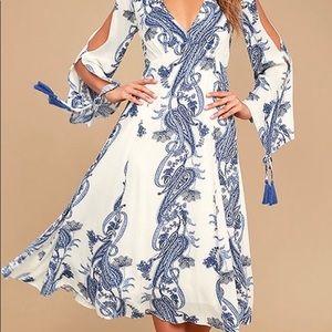 Boat Life Blue and White Print Midi Dress